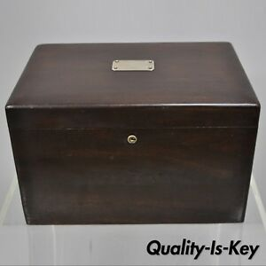 Antique Mahogany Cigar Humidor With Silver Plaque Milk Glass Lining