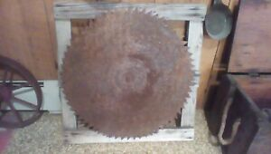 Antique 24 Buzz Saw Blade 1 1 4 Hole Saw Mill On Rustic Wood Mount