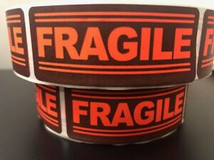250 1x3 Fragile Labels Stickers For Shipping Supplies Office Products 250 Red