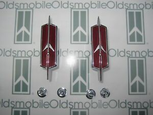 1967 Oldsmobile Cutlass F85 Rocket Front Fender Emblems pair With Hardware