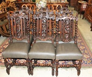 French Antique Carved Oak Louis Xiii Renaissance Set Of 6 Dining Chairs