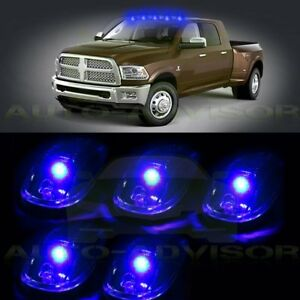 5x Cab Roof Top Blue Led Running driving Light Marker Lamp Truck suv 4x4 New