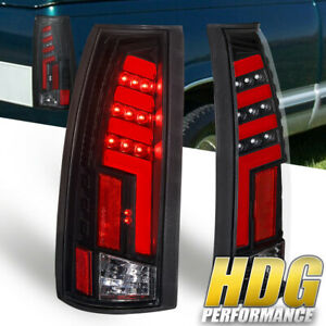 For 1988 1998 Chevy Gmc C k 1500 2500 Black Housing Red Led Tail Lights Lamp