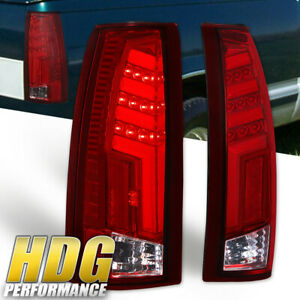 For 1988 1998 Chevy Gmc C k 1500 2500 Chrome Housing Red Led Tail Lights Lamps