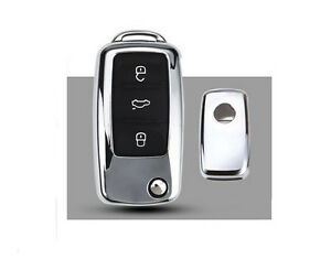 1pcs Chrome Car Folding Remote Control Key Case Cover Fit For Passat Lavida Polo