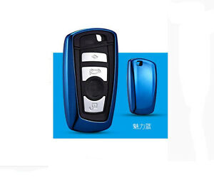 Blue Tpu Car Remote Control Key Case Cover For 1 3 5 6 7 Series A Key To Start