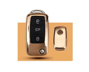 1pcs Golden Tpu Car Folding Remote Control Key Case Cover For Passat Lavida Polo