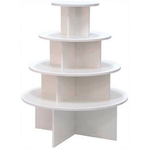 Display 4 Tier Table Round Boutique Clothing Store Fixture White Knockdown New