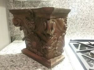 Antique Hand Carved Mahogany Walnut Wood Architectural Capital Corbel Pediment