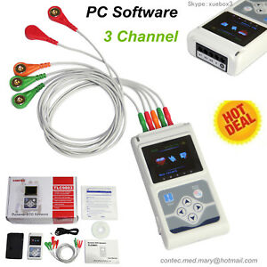 Ecg ekg Holter System 3 Channel 24 Hours Recorder Monitor Us software Usa Seller