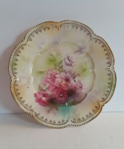 Rs Prussia Pink Floral Scene Porcelain 8 Plate Rs Red Wreath Outline