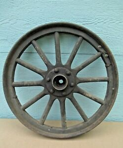 Car Wheel Vintage Metal Wood Delivery Possibility 1900 s Wood Spokes Antique