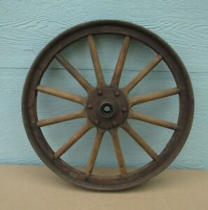 Car Wheel Vintage Metal Wood Delivery Possibility 1900 s Antique Wood Spokes