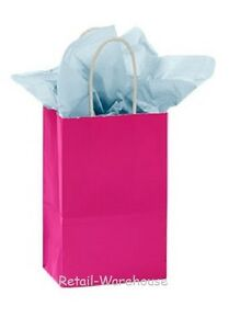 Paper Shopping Bags 100 Glossy Cerise Reddish Pink Merchandise 5 X 3 X 8