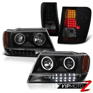 For 99 04 Jeep Grand Cherokee Wg Wj Black Halo Projector Headlight Led Taillight