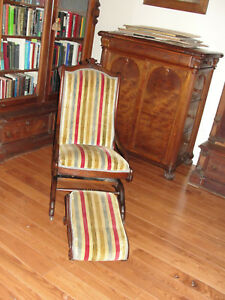 Eastlake Victorian Rocker With Matching Foot Stool