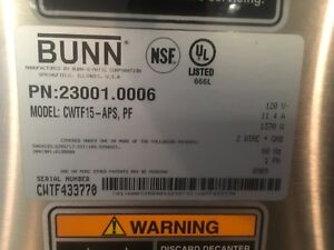 Bunn Cw Series Cwtf 15 aps Coffee Maker Brewer Without Airpot