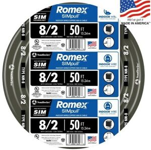 Southwire Romex Simpull 50 ft 8 2 Non metallic Wire by the roll Indoor Solid