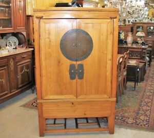 Asian Elm Pine Light Wood Armoire Cabinet With Shelves Chest Wardrobe
