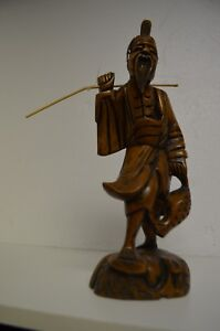 Antique Chinese Figurine Fisherman Carved Wood Tribal Asian Old Bearded Man 12 T