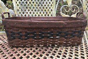 Small Antique Splint Woven Laundry Sewing Basket Early Primitive Construction