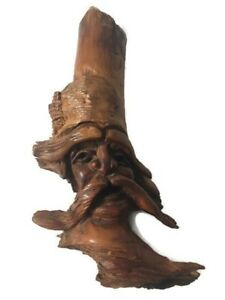 Hand Carved Drift Wood Carving Man With Mustache 7 X4