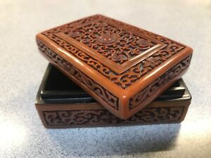Cinnabar Red Lacquer Fine Carved Box With Lid Cherry Flowers Tree Blossom Design