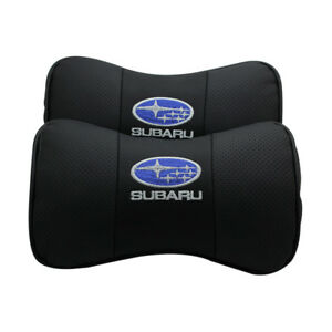 2pc Black Real Leather Car Seat Neck Pillow Car Headrest Fit For Subaru Car