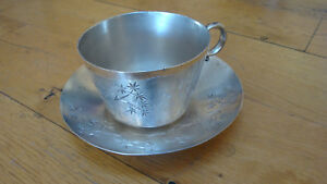 1900s Silver Cup Saucer James Tufts Quad Plate Etched Flowers Butterfly Look