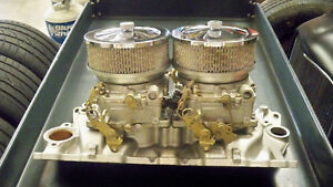 Dual Quad 2x4 Intake And Carbs Sbc Chevy