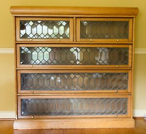 Unique Antique Oak All Leaded Glass Barrister Lawyer 4 Shelf Bookcase