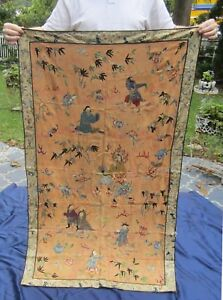 Large 19thc Antique Chinese Handmade Silk Embroidery Tapestry 34 X 58