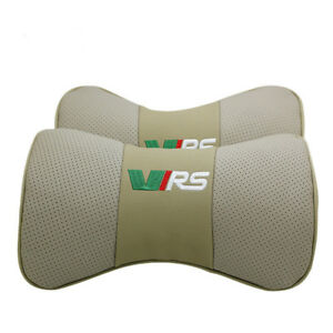 Beige 2pc Real Leather Car Seat Neck Pillow Car Headrest Fit For Skoda Car