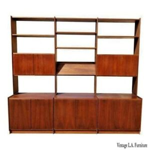 Solid Walnut Vintage Mid Century Modern Modular Wall Unit Bookcase Made Norway