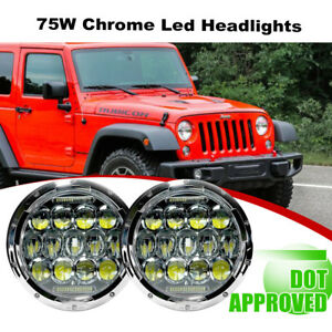 2x 7inch Round 150w Total Chrome Led Headlights 97 17 For Jeep Jk Tj Lj Wrangler