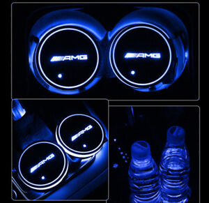 Led Car Cup Holder Pad Mat For Mercedes Benz Amg Auto Interior Atmosphere Light