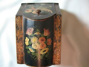 Antique English Hand Painted Tole Box