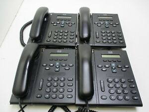 Lot Of 4 Cisco Unified Ip Phones Cp 6921 With Handset no Stand T2 a16