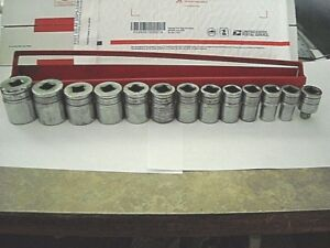 Snap on 1 2 Drive Chrome tw Socket Set 7 16 To 11 8 Sae 13pc rack usa Made