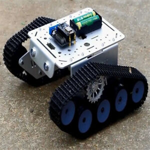 Metal Robotic Tracked Tank Car Chassis 9v Motor Hall Led Nodemcu For Arduino