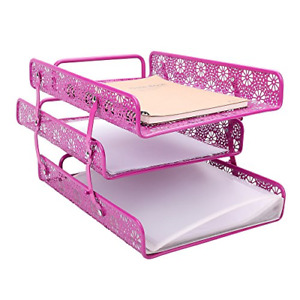 Crystallove Rose Red Metal Carved Hollow 3 tier Paper File Tray Magazine Holder