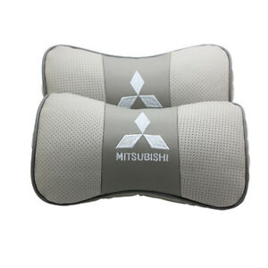 2pc Gray Real Leather Car Seat Neck Pillow Car Headrest Fit For Mitsubishi Auto