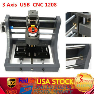 3 Axis Usb Mini Cnc 1208 Router Engraving Machine 8000r m Spindle 3d Printed Diy