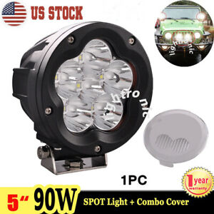 1x 5inch 90w Led Driving Light Spot Round Offroad Work Lamp 4wd Truck Cover