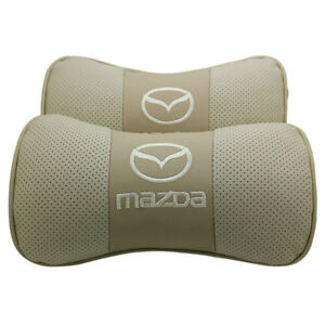 2pc Real Leather Beige Car Seat Neck Pillow Car Headrest Fit For Mazda Car