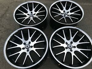 4 22 Asanti 5x115 Chrome Lip Black Staggered Wheels Rims Lexani Dub Forgiato