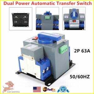 2p 63a Dual Power Automatic Transfer Switch Generator Changeover 110v 50 60hz Us