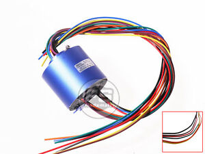 New 8wires 380v Ac dc 10a 12 7mm Dia Metal Capsule Conductors Slip Ring Blue