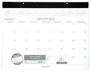At a glance Monthly Desk Calendar 2015 21 75 X 15 Inch Page Size Black