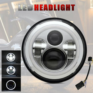 7inch Round Motorcycle Projector Headlight Headlamp With Housing Chrome
